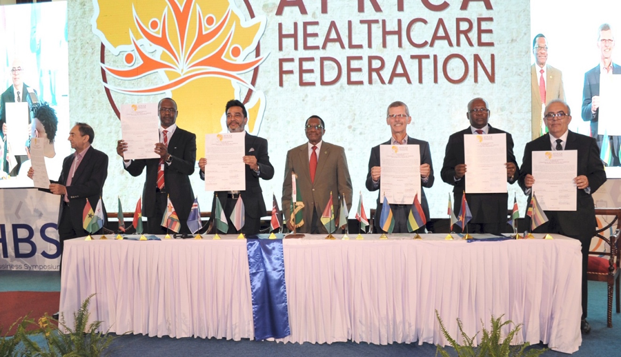 Launch of the Africa Health Federation as healthcare leaders from the 5 regions of Africa unite to pledge their commitment by signing of a communiqué.  [L-R] Dr. Ramesh Bhoola (Southern Africa), Dr. Ardo Boubou Ba (Western Africa), Dr. Amit N. Thakker (Chairman, AHF & Africa Health Business), H.E. Dr. Mustafa Siddiqi Kaloko (Commissioner of Social Services, African Union), Dr. Ian Clarke (Eastern Africa), Dr. Jean Daniel Ovaga (Central Africa), Dr. Hatem El Gabaly (Northern Africa)